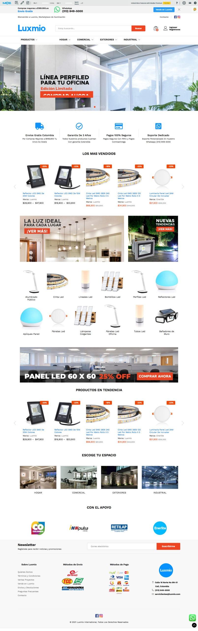 desarrollo market place luxmio iluminacion